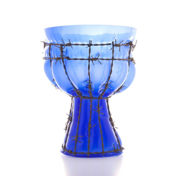 glass and barb wire BLUE by Bas Froon