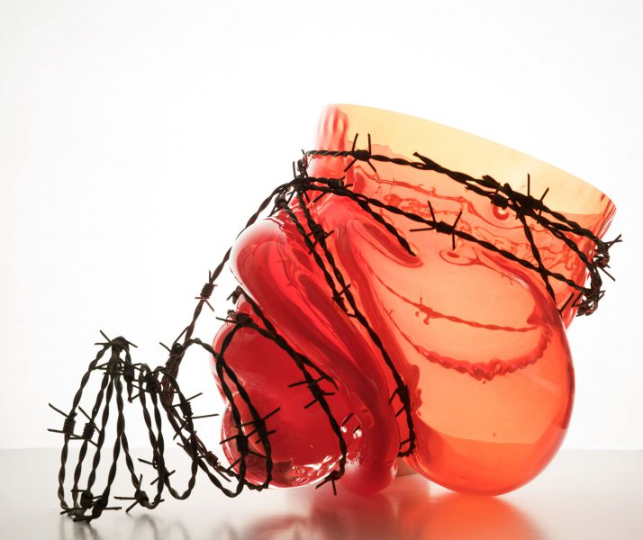 glass and barb wire RED by Bas Froon
